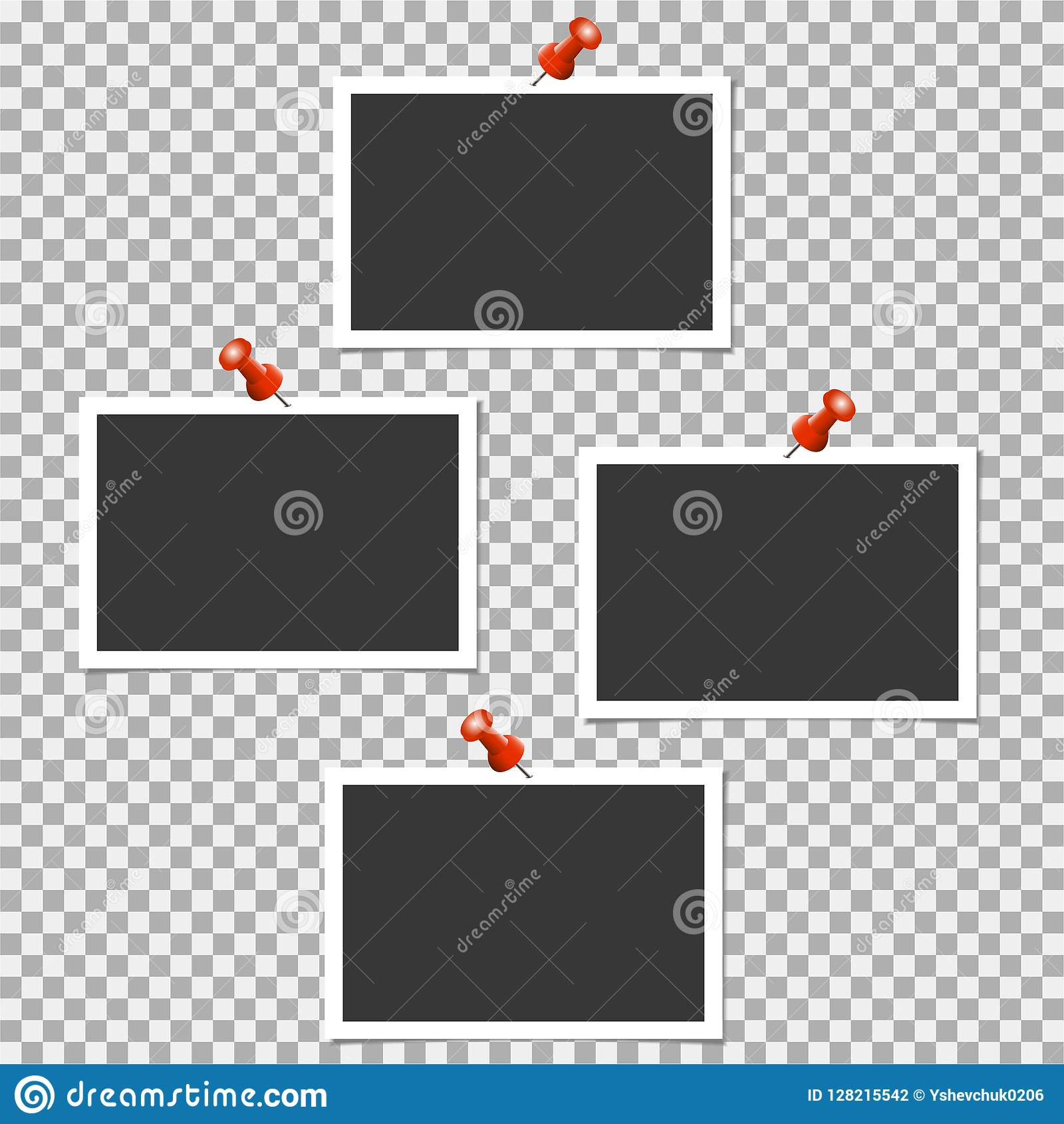 polaroid photo frame with pin on grey background vector template