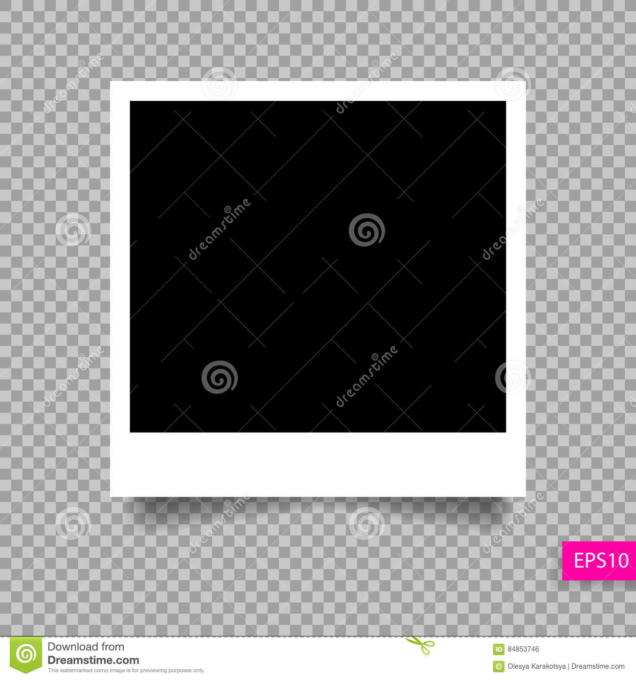 polaroid photo frame template with shadow stock vector