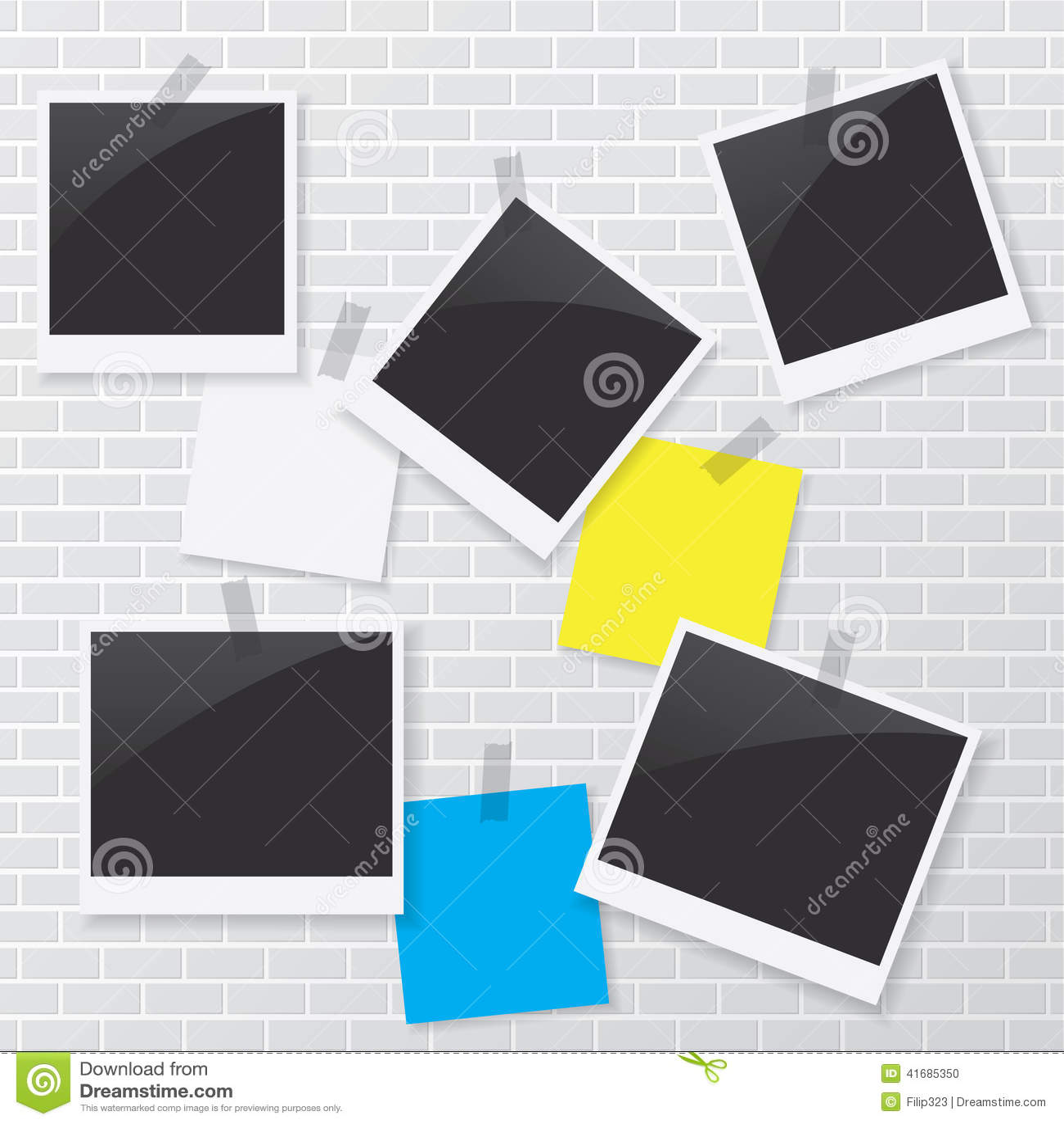 Polaroid- ram och tomt papper på tegelstenväggen