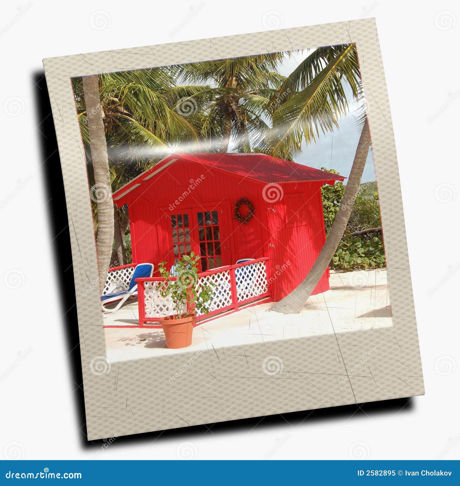 polaroid slide of beach scene stock image image of card