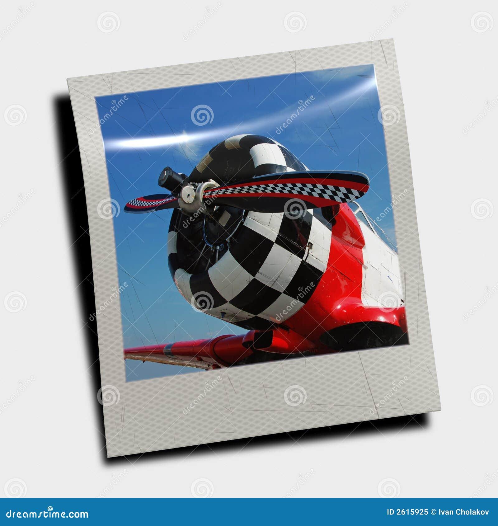 polaroid slide of retro plane stock image image of obsolete plane