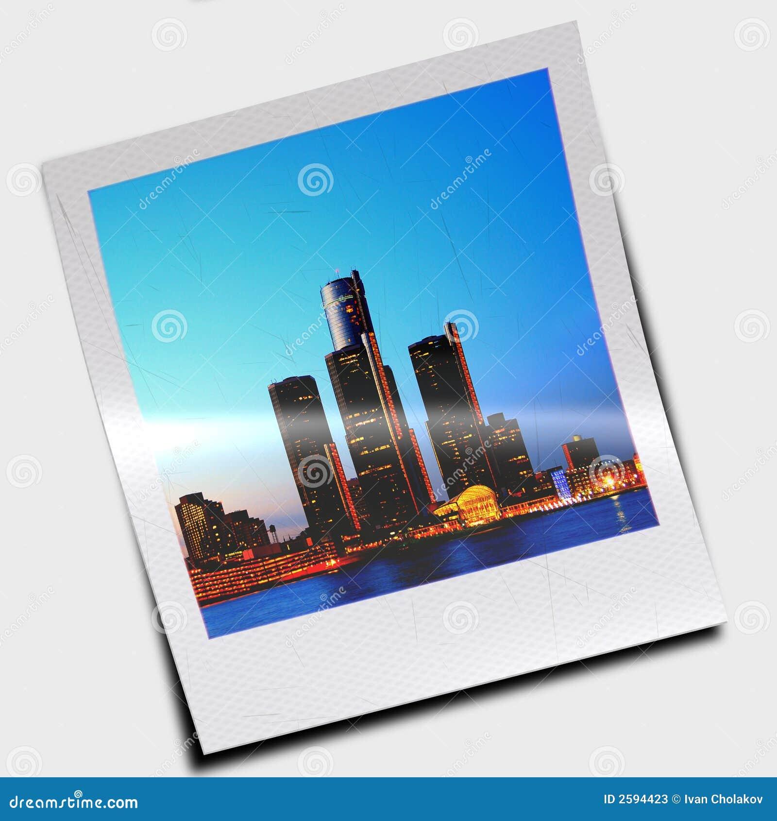 polaroid slide of skyscrapers stock illustration illustration of