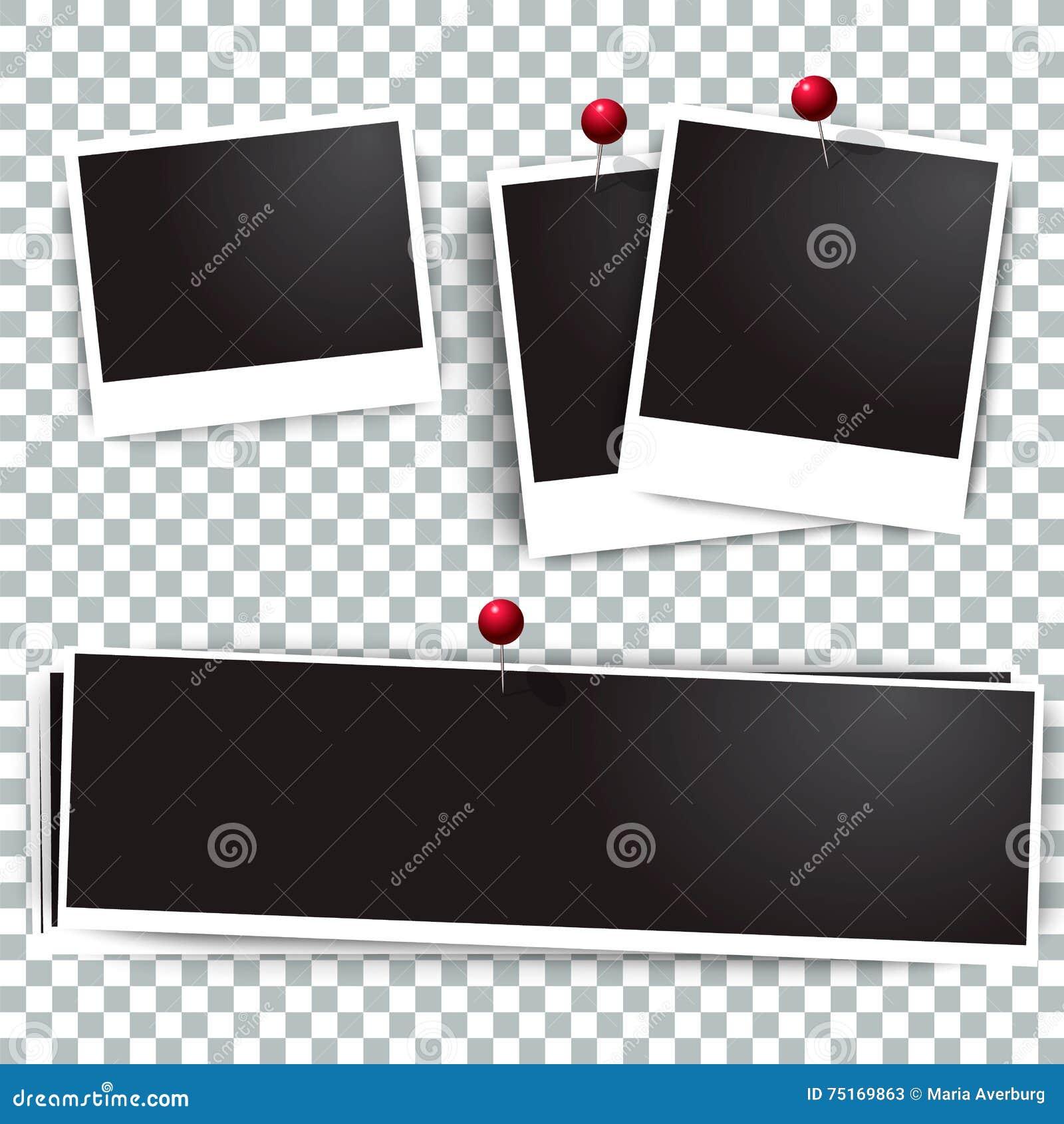 Polaroidrahmen Des Fotos Auf Der Wand Befestigt Mit Stiften Rahmen ...