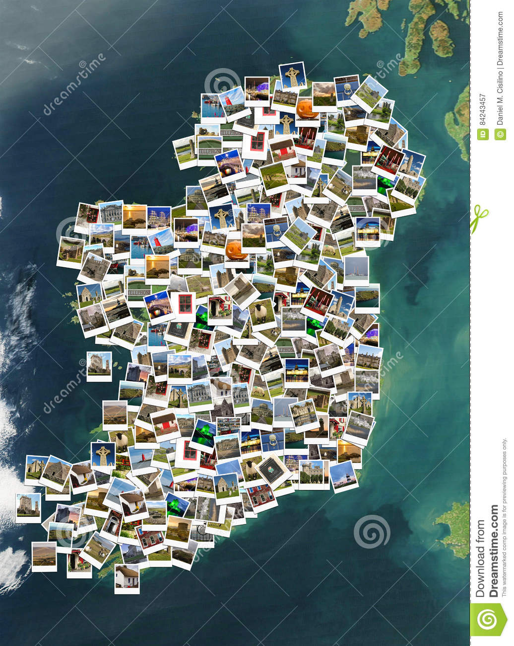Map Of Ireland Historical Sites.Travel In Ireland Collage Map Made Of Polaroids Stock Image