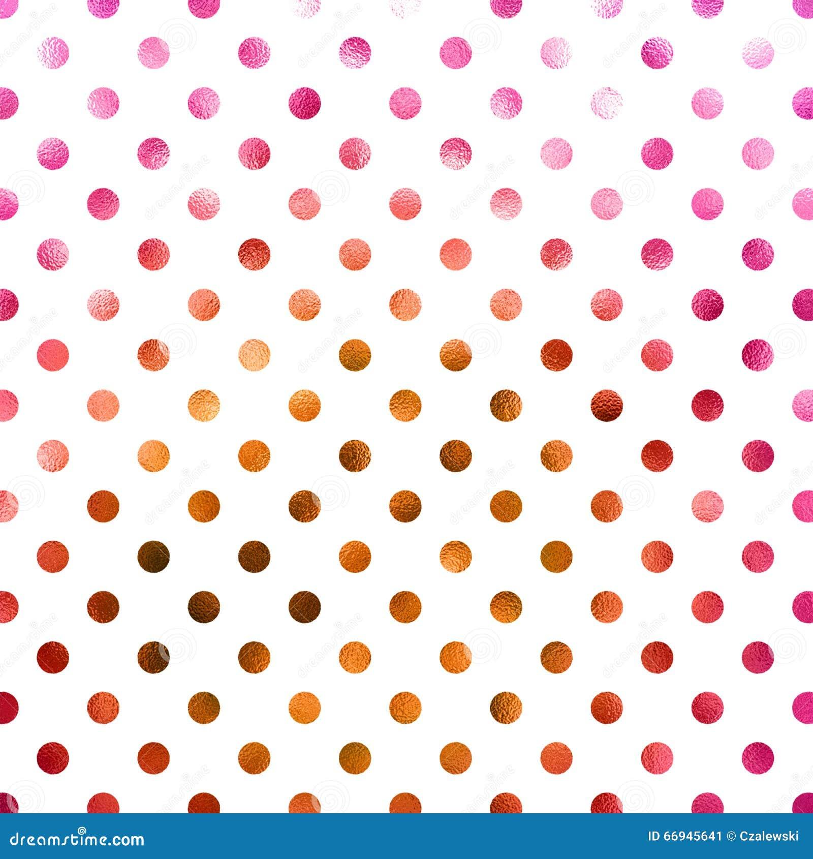 Polca de cobre cor-de-rosa Dot Pattern do ouro