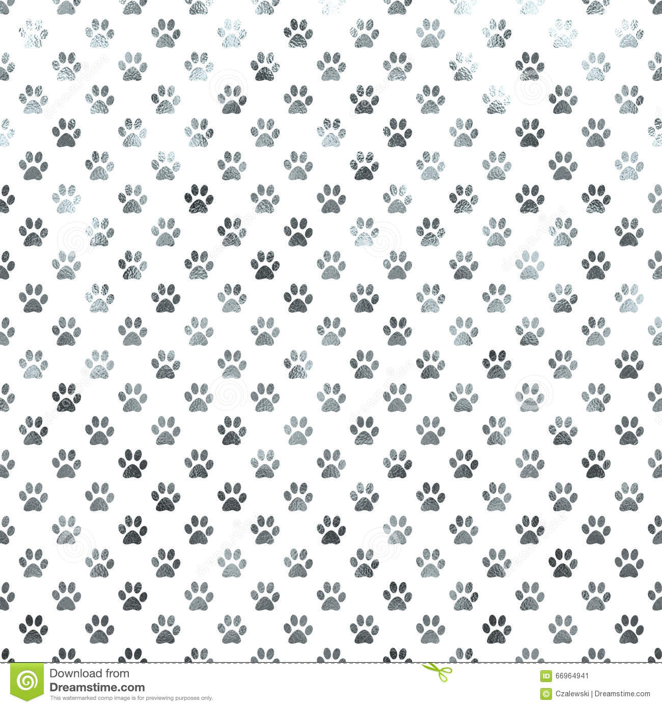 Polca Dot Paws Background de Paw White Silver Metallic Foil do cão