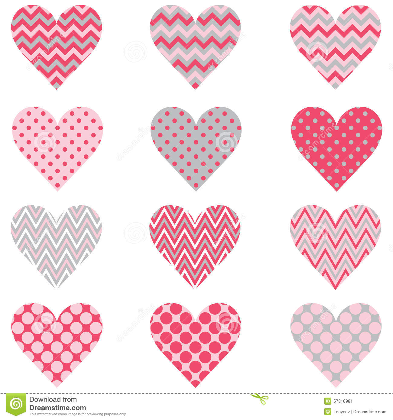 Polca rosada Dot Heart Shape Pattern de Chevron
