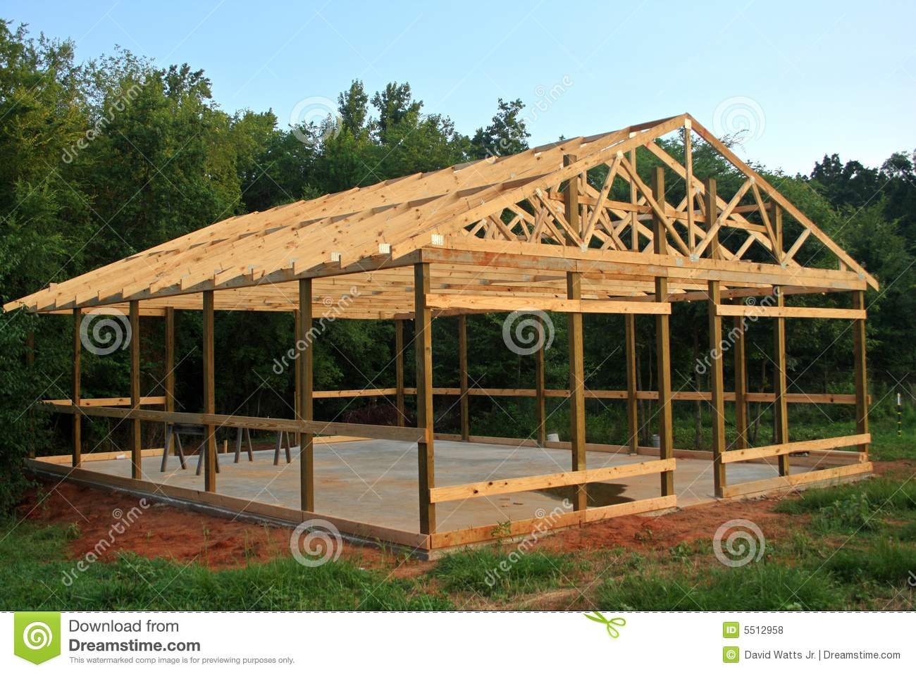 Pole barn stock photo image of storage shop for Building a house out of a pole barn