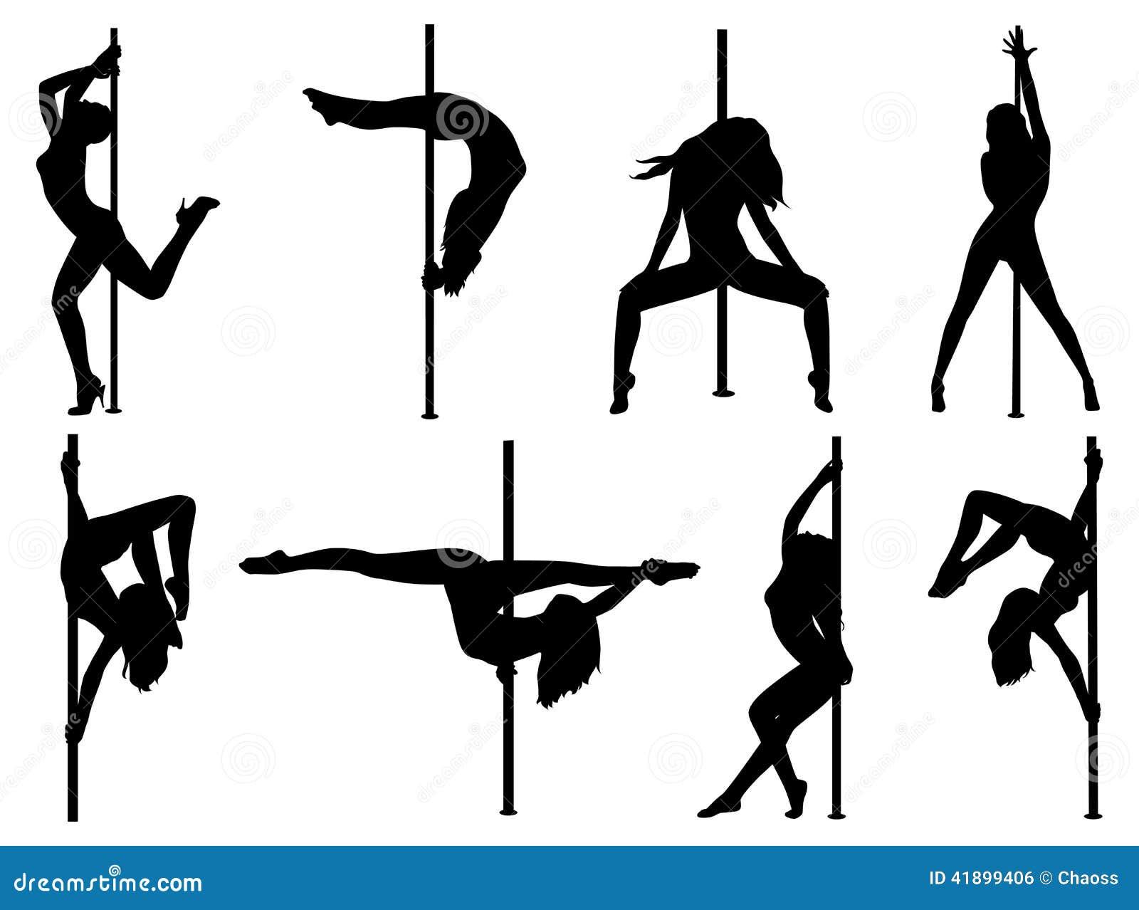 Stripper Illustration Light2sound Ldr Synth Make Pole Dance Women Silhouettes Stock Image