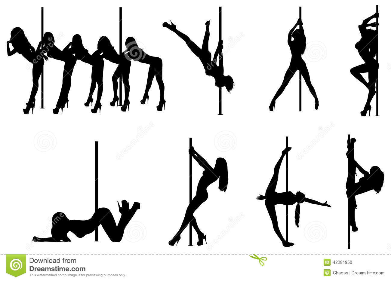 Stripper Illustration Light2sound Ldr Synth Make Pole Dance Women Silhouettes Stock Vector Image 42281950