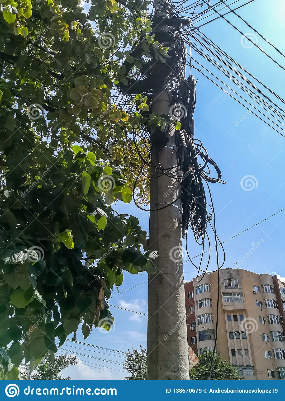 Pole of light with many cables in Buzau