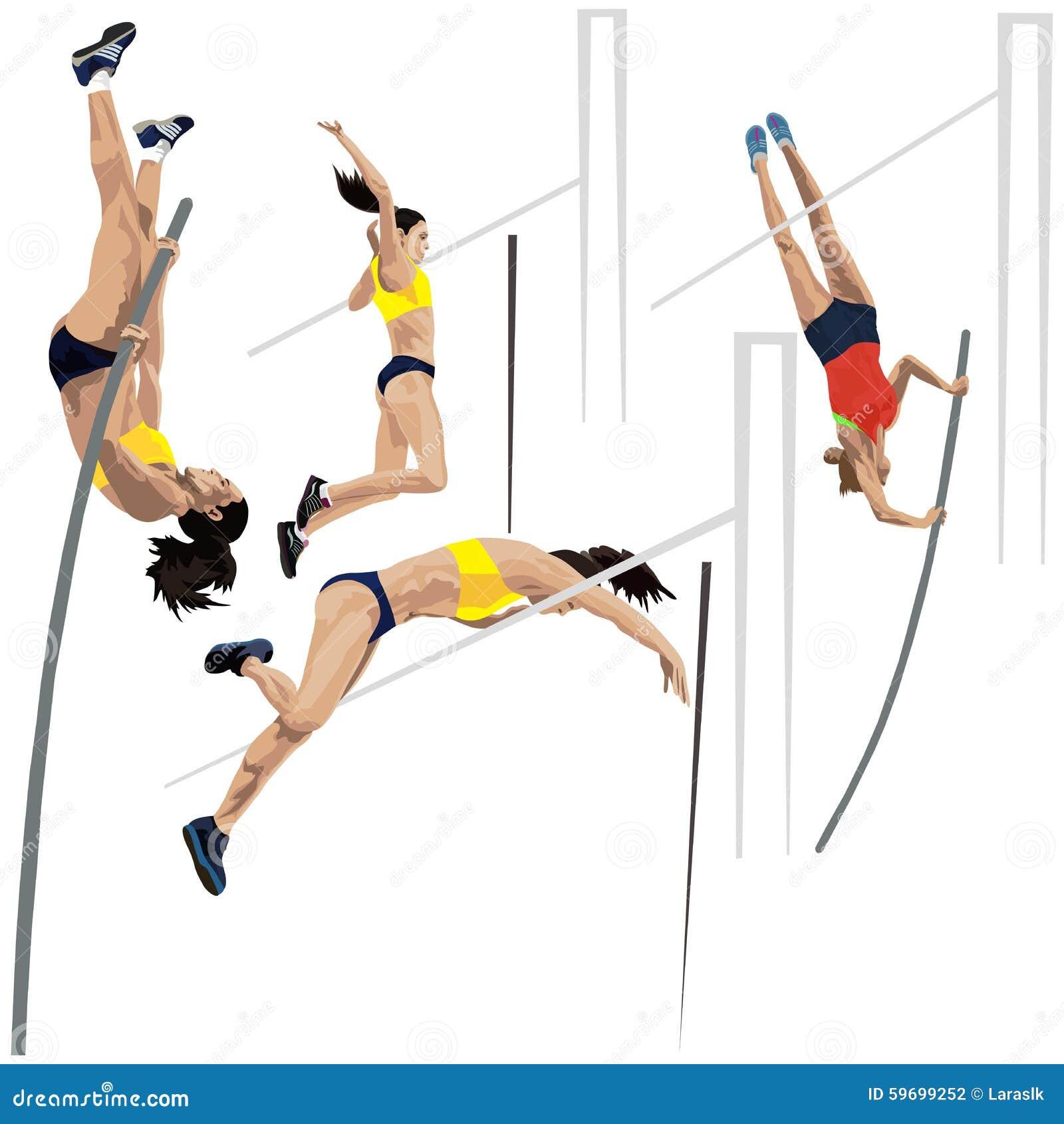 Light Pole Jumps: Pole Vault Stock Vector