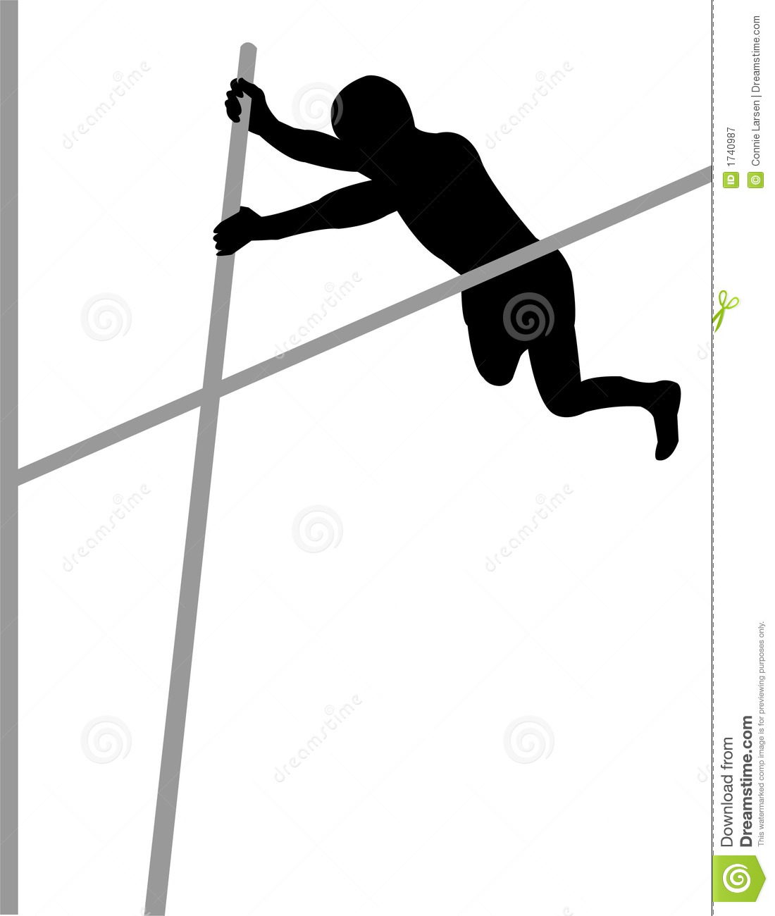 Illustration of a track and field athletes competing in pole vault.