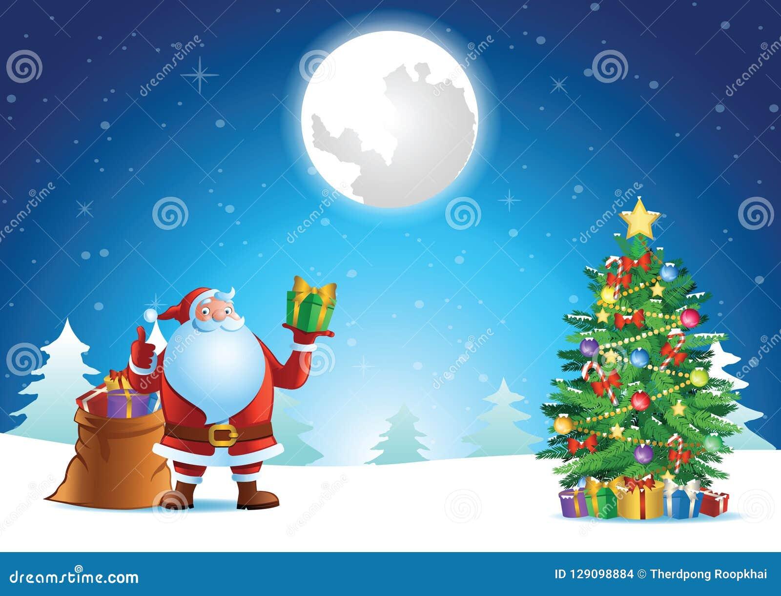 A Rena Mais Famosa Do Papai Noel polegar de papai noel ascendente e presente da mostra na