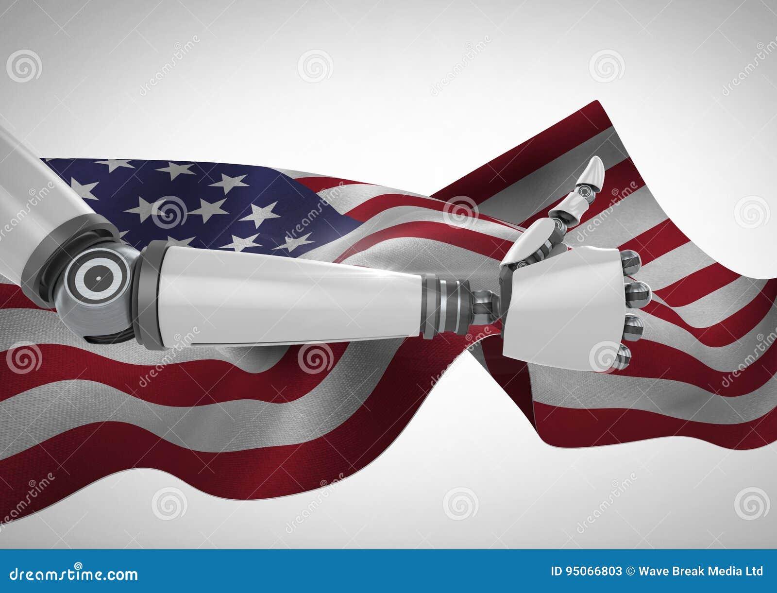 Polegares acima do robô contra a bandeira americana de vibração