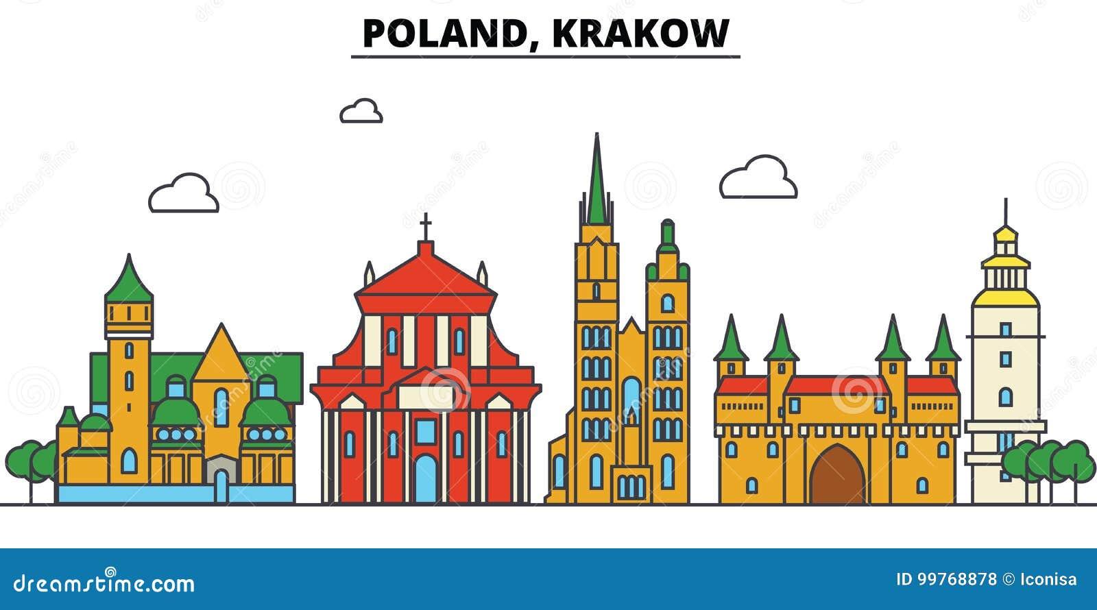 Polen, Krakau De architectuur van de stadshorizon editable