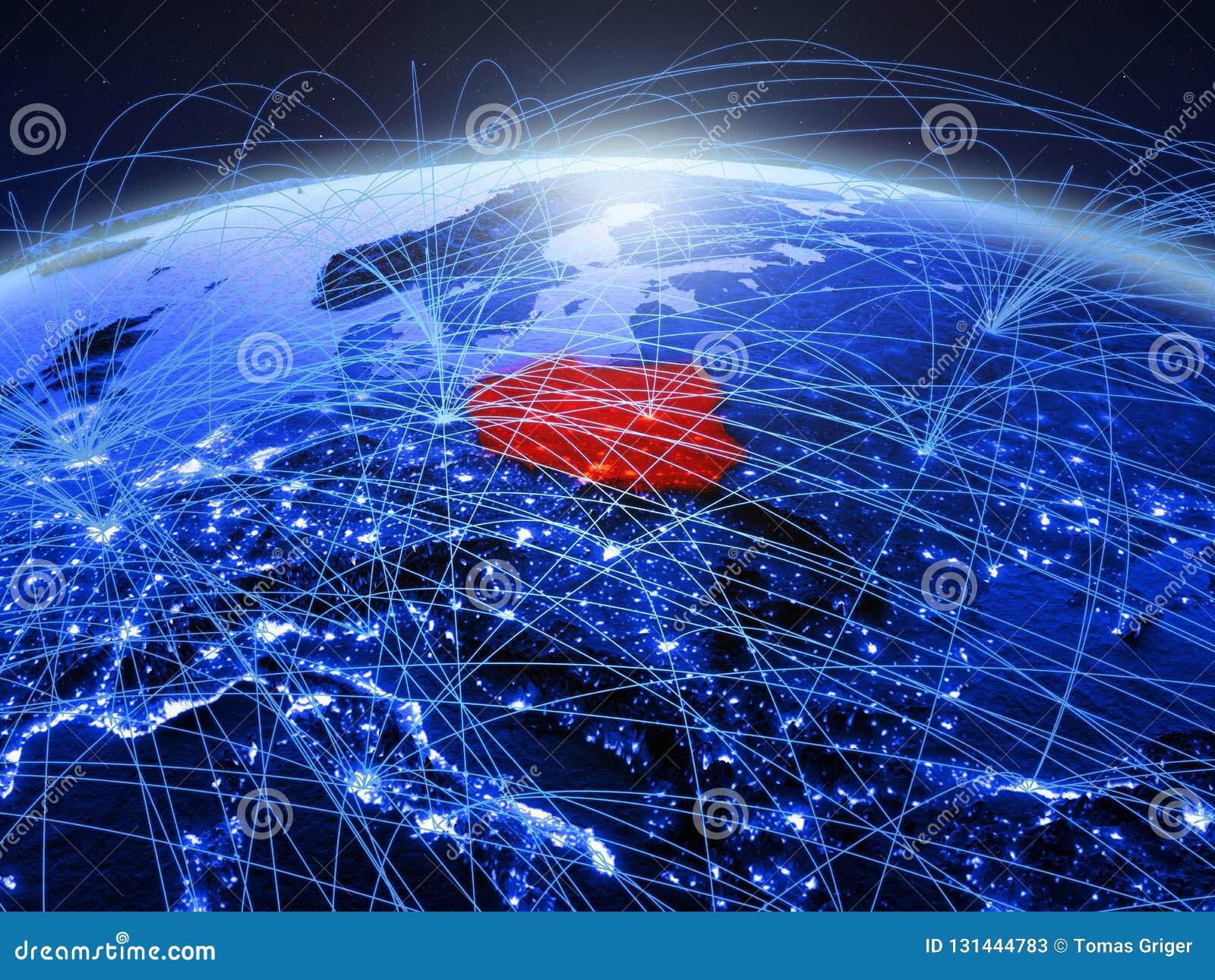Polen op blauwe digitale aarde met internationaal netwerk die mededeling, reis en verbindingen vertegenwoordigen 3D Illustratie