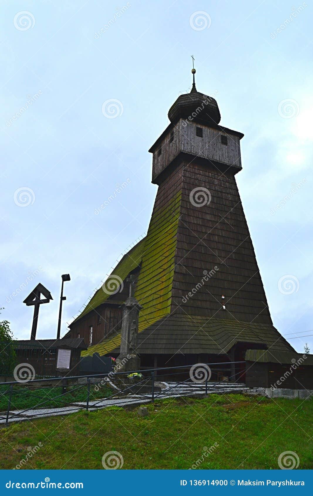 Polen, Wisla Mala, catolic tempel, houten kerk, toerisme, aalmoezenier, godsdienst