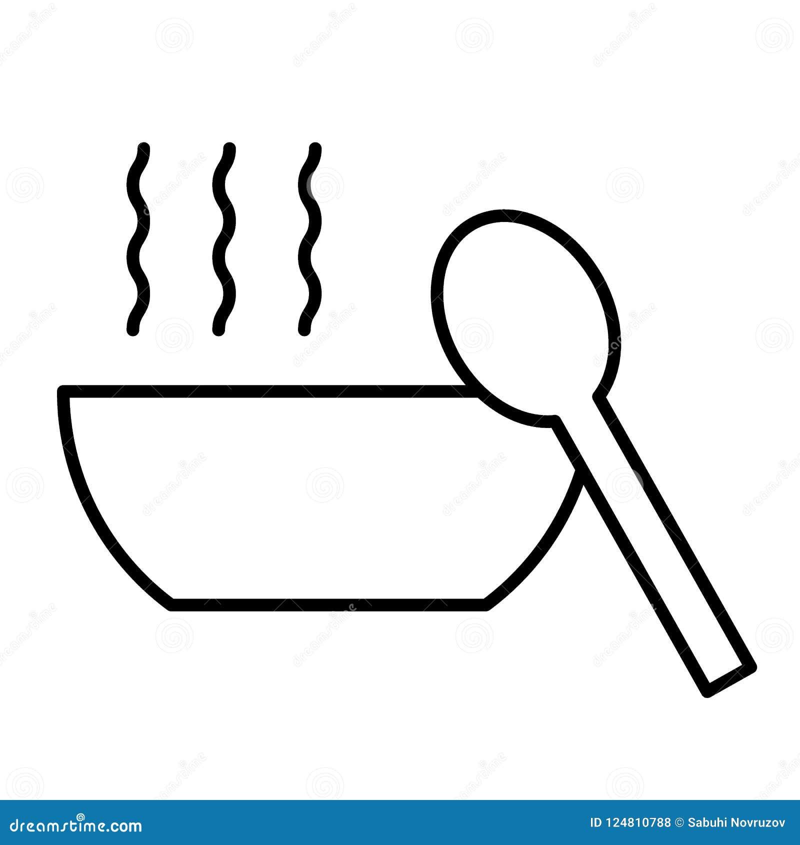Polewki cienka kreskowa ikona Puchar zupna i łyżkowa wektorowa ilustracja odizolowywająca na bielu Gorący karmowy konturu stylu p