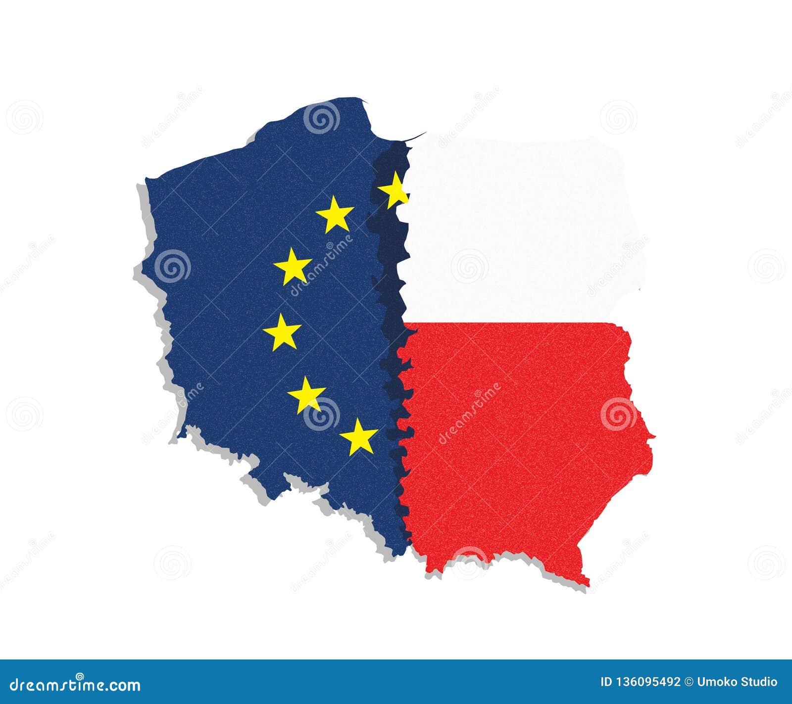 Polexit Översikten /flag av Polen och europeisk union/EU avskilde från eatch annan