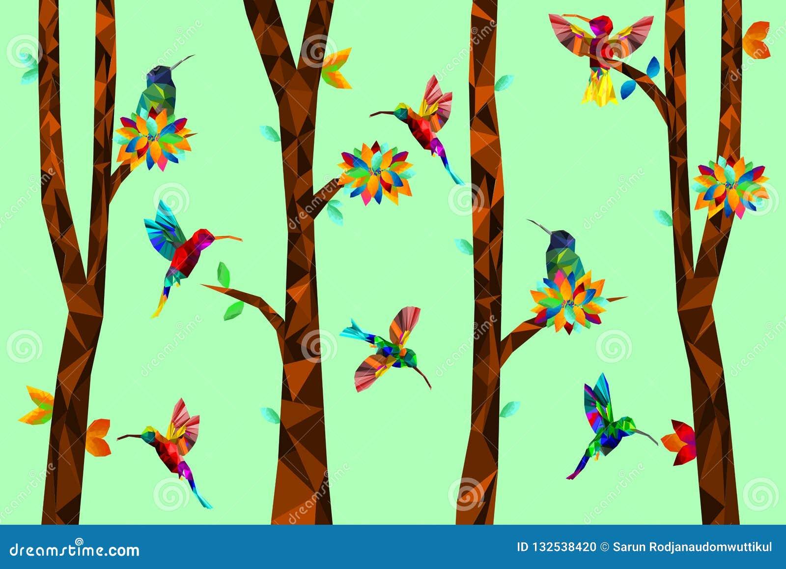 Poli colibrì variopinto basso con l albero sulle foglie cadenti indietro a terra, uccelli sui rami, concetto geometrico animale,