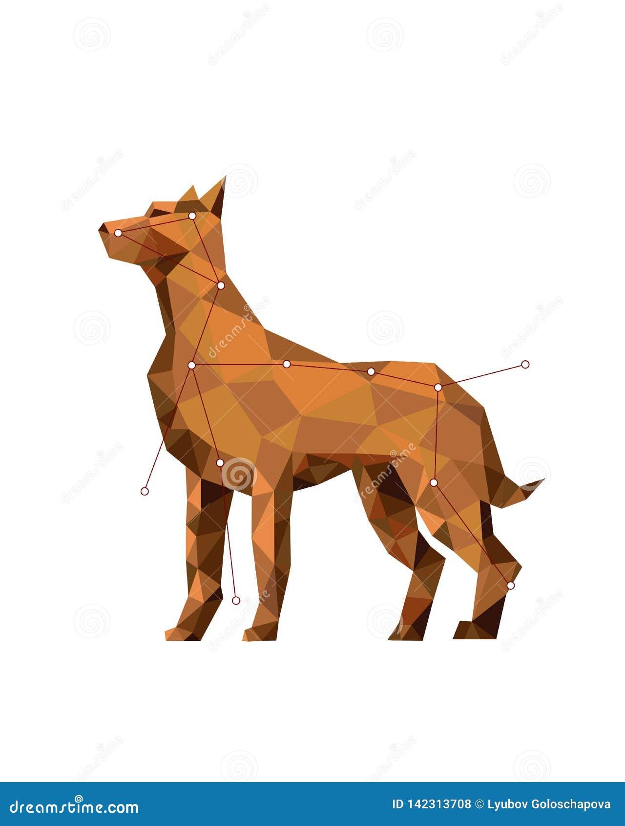 Poli- kolorowa postaci sztuka pies w geometrycznym stylu