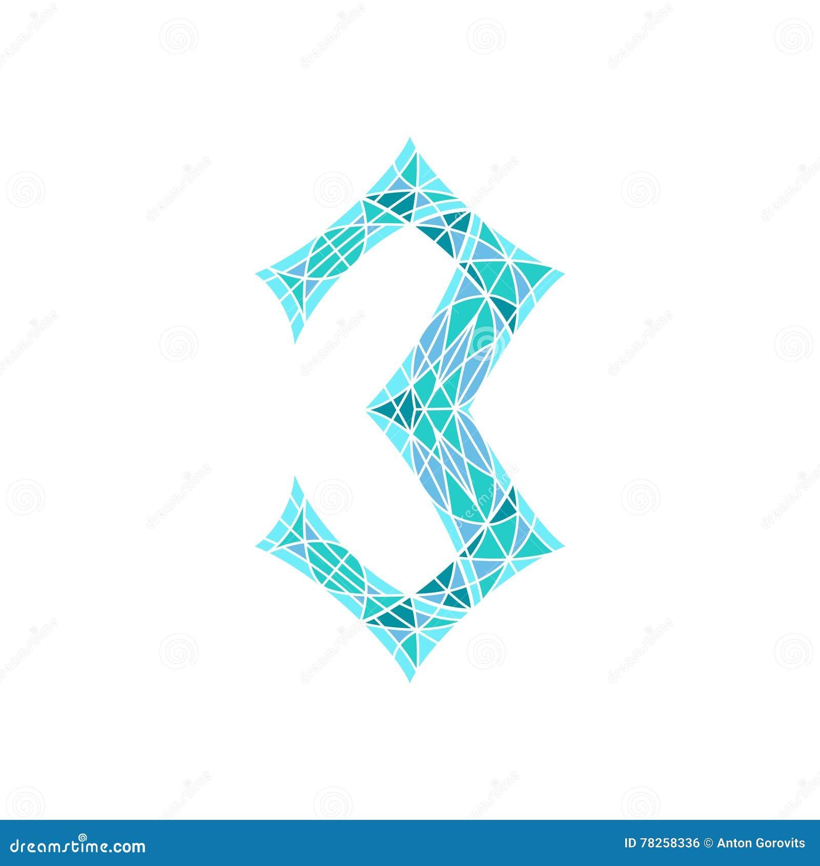 Poli numero basso 3 nel poligono blu del mosaico