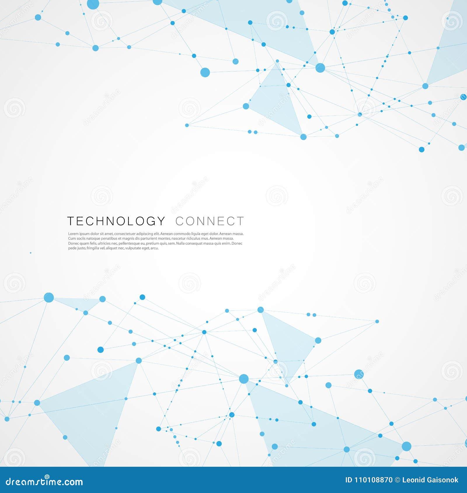 Poli progettazione digitale astratta del fondo della maglia Colleghi la struttura poligonale geometrica con le linee ed i punti