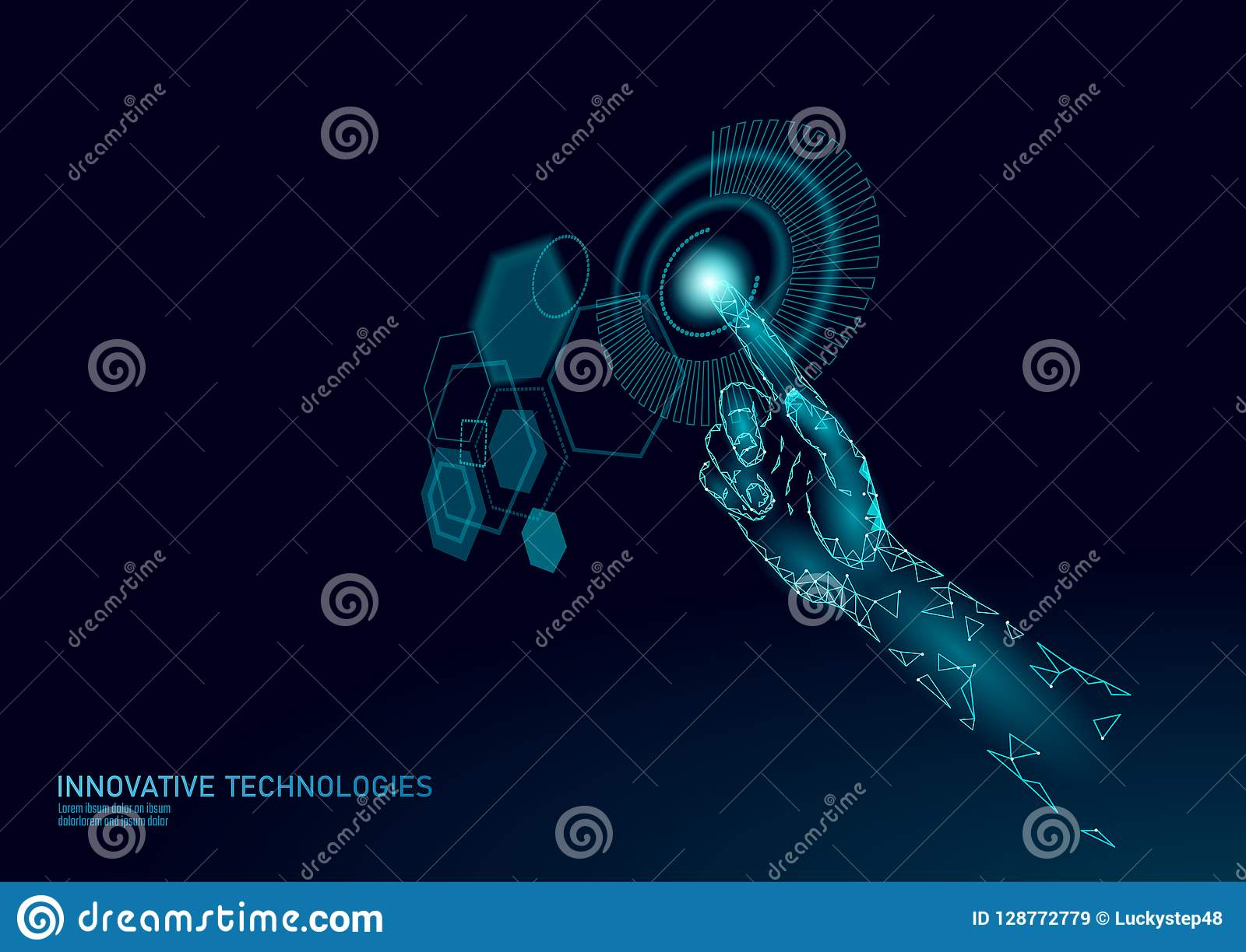 Poli tocco basso HUD virtuale della mano Ologramma dell esposizione di controllo del dito dell utente Tecnologia moderna futura i