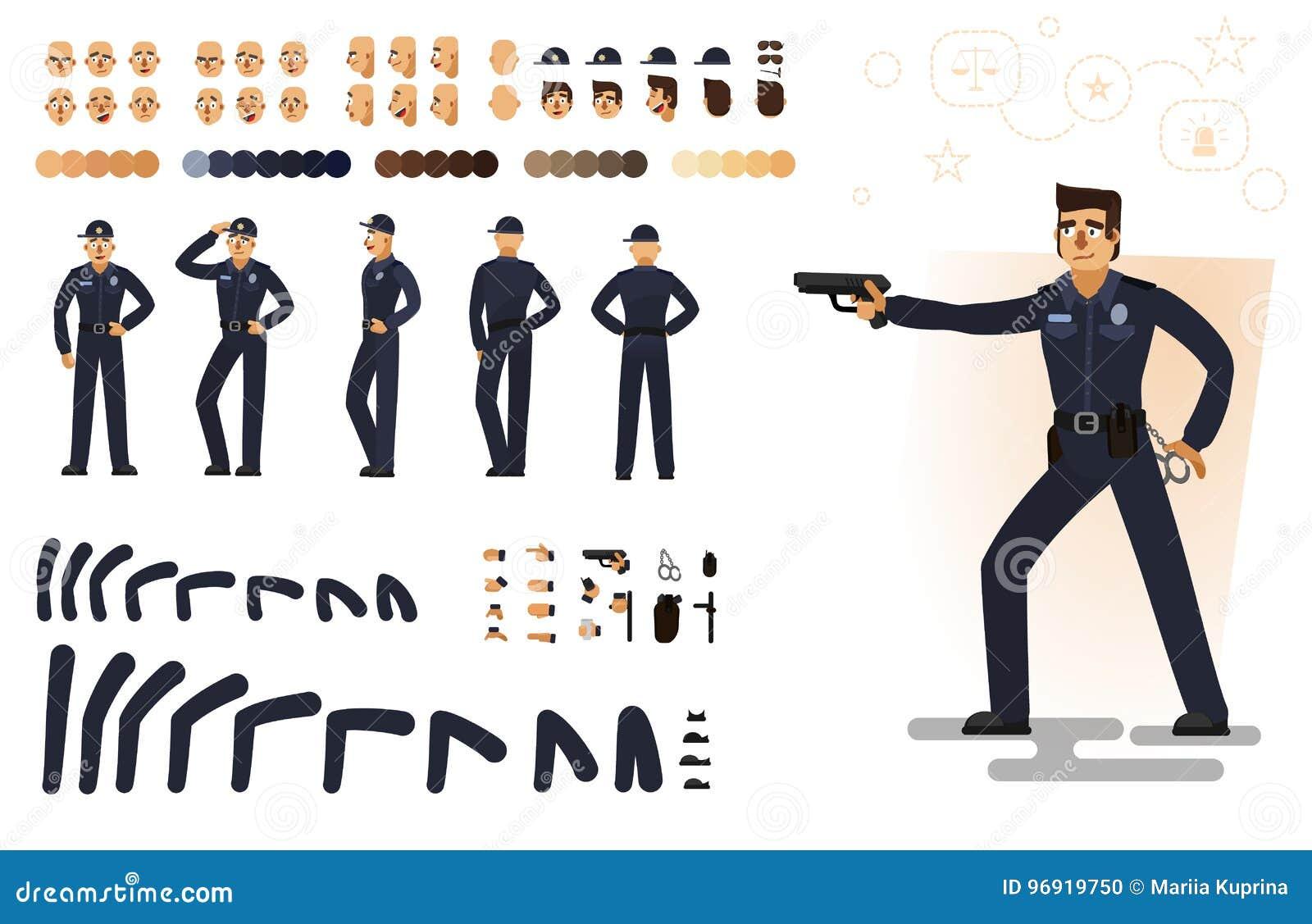 Policía estilizado, ejemplo plano del vector Sistema de diversos elementos, emociones, gestos, partes del cuerpo para la animació