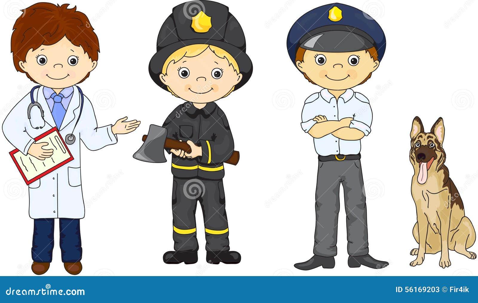 polic u00eda  bombero y doctor en su uniforme ilustraci u00f3n del police clipart black and white policeman clipart with stop sign