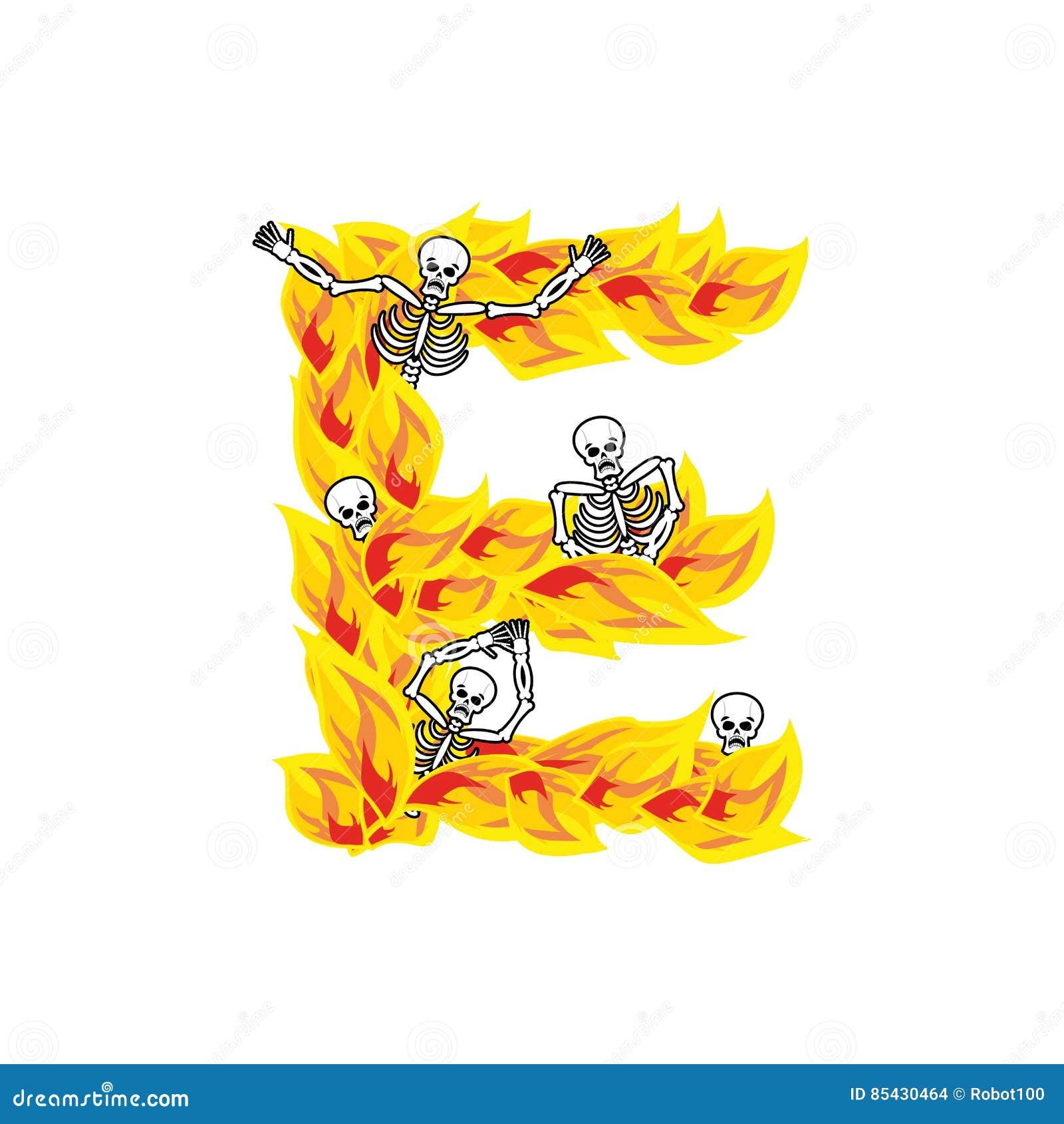 Police atroce de flammes et de pécheurs de la lettre E lettrage ardent impliquez