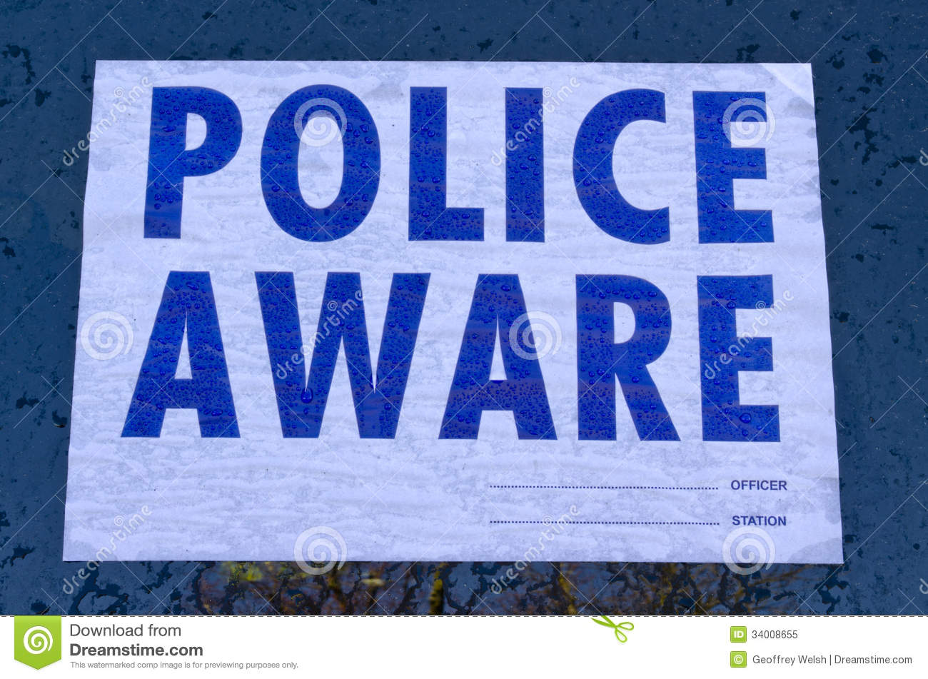 Police Aware Sign Royalty Free Stock Photo Image 34008655