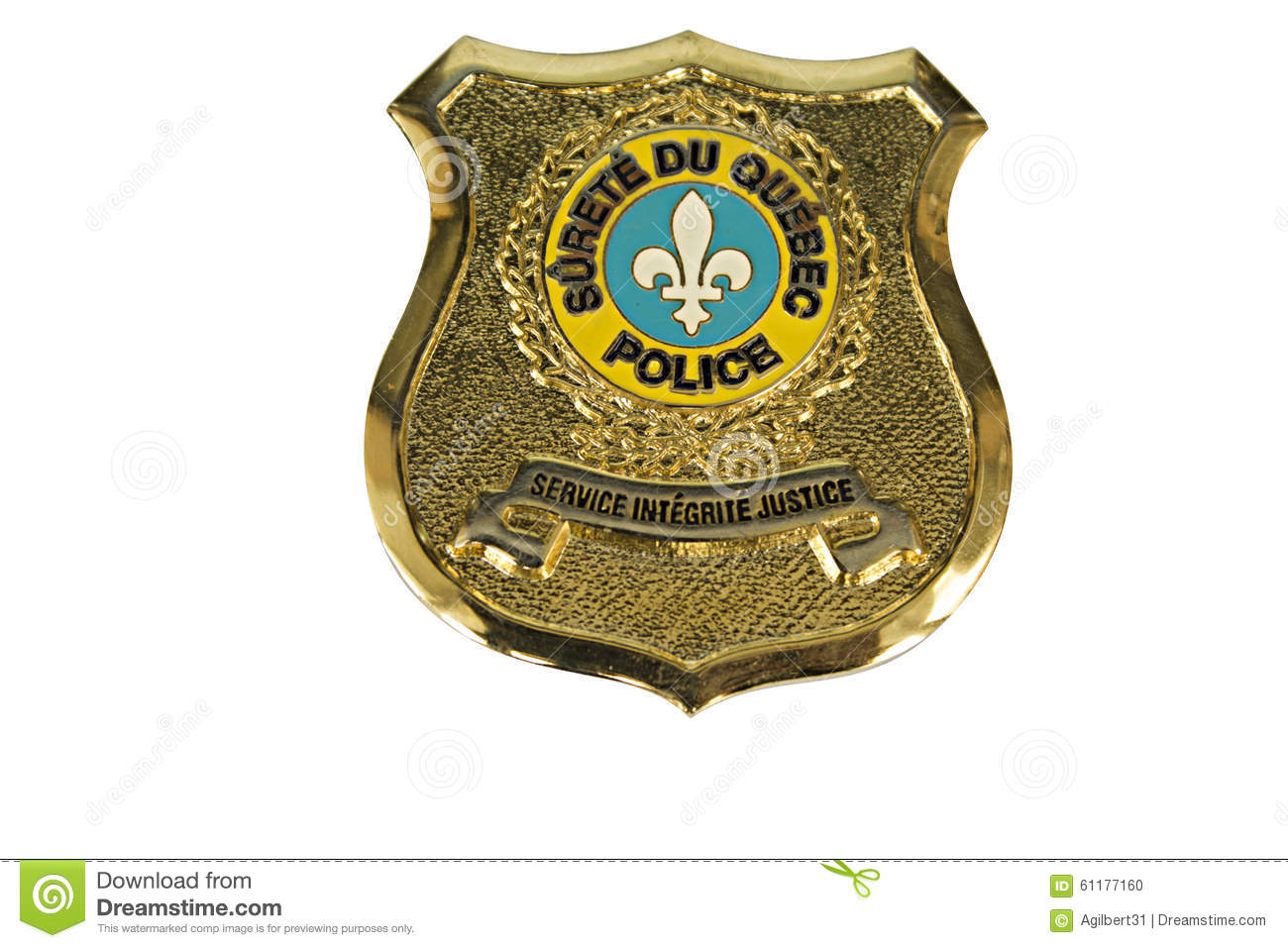 police badge sq quebec stock photo image 61177160