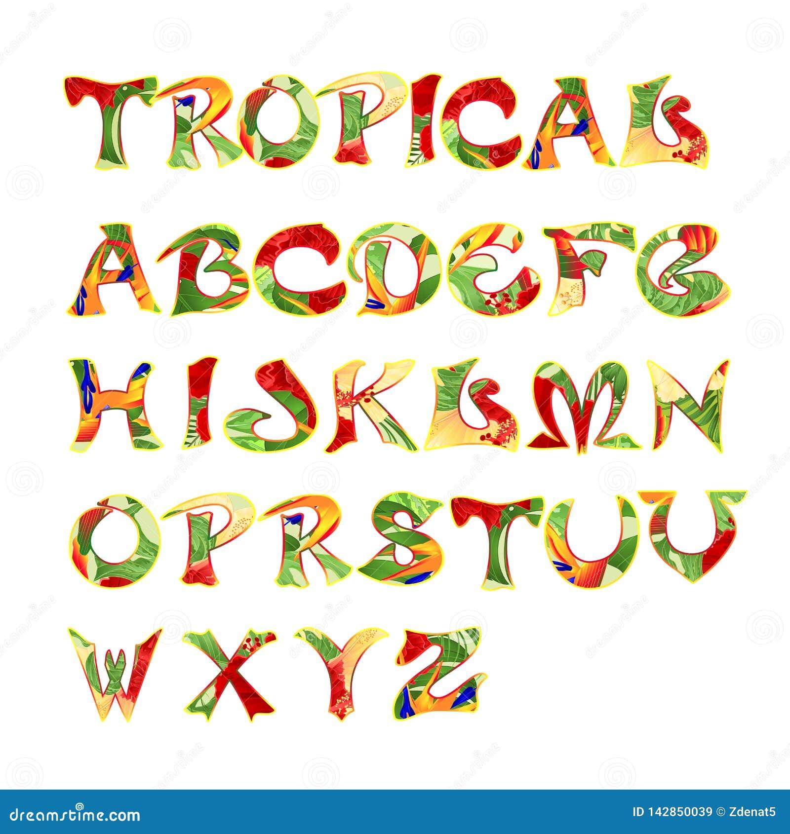Police calligraphique stylisée et illustration tropicale de vecteur de cru de modèle d alphabet editable