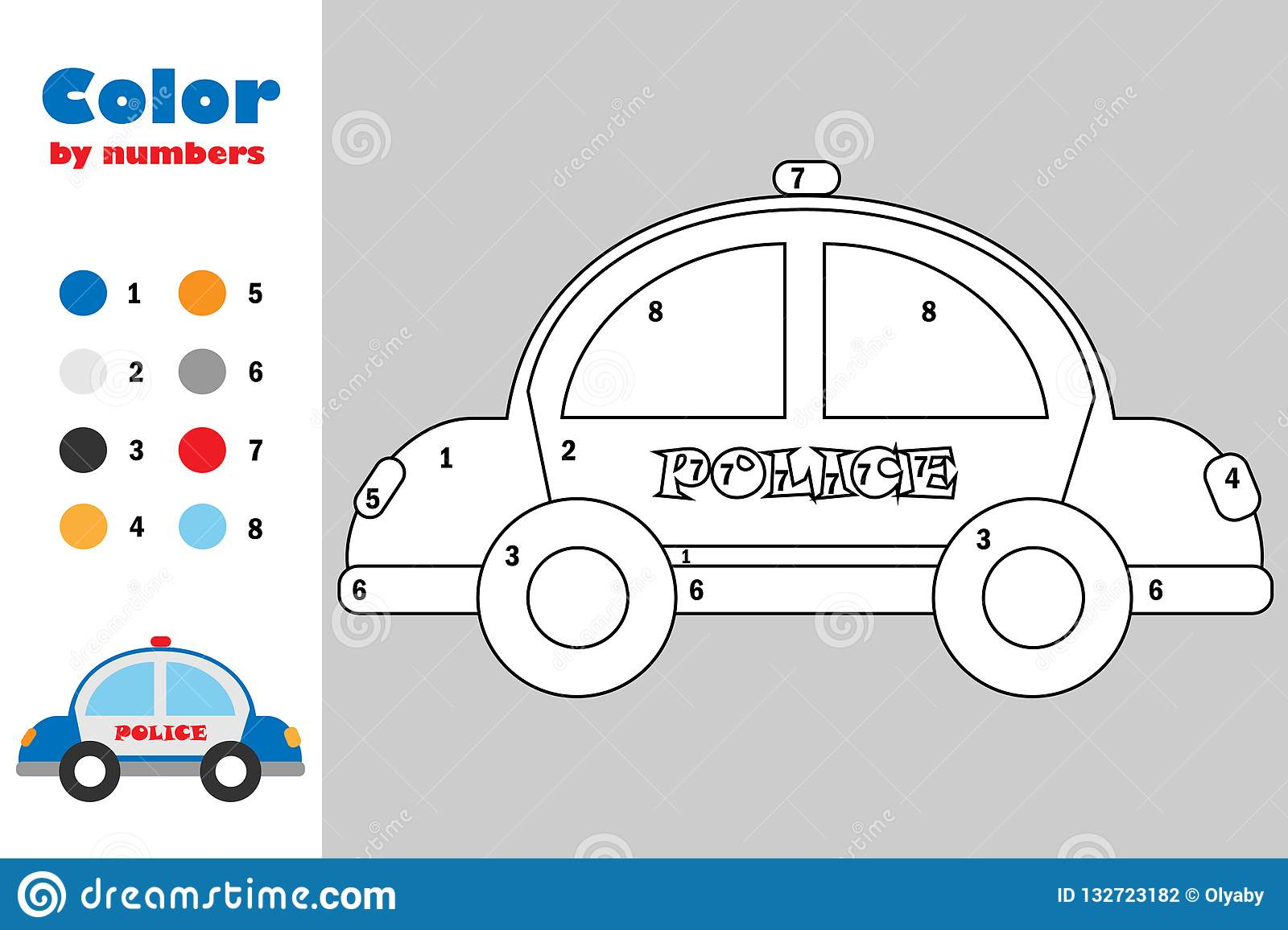 Police Car In Cartoon Style, Color By Number, Education Paper Game ...