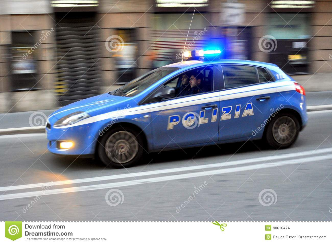 Police Car With Cops In Rome Italy Editorial Stock Image