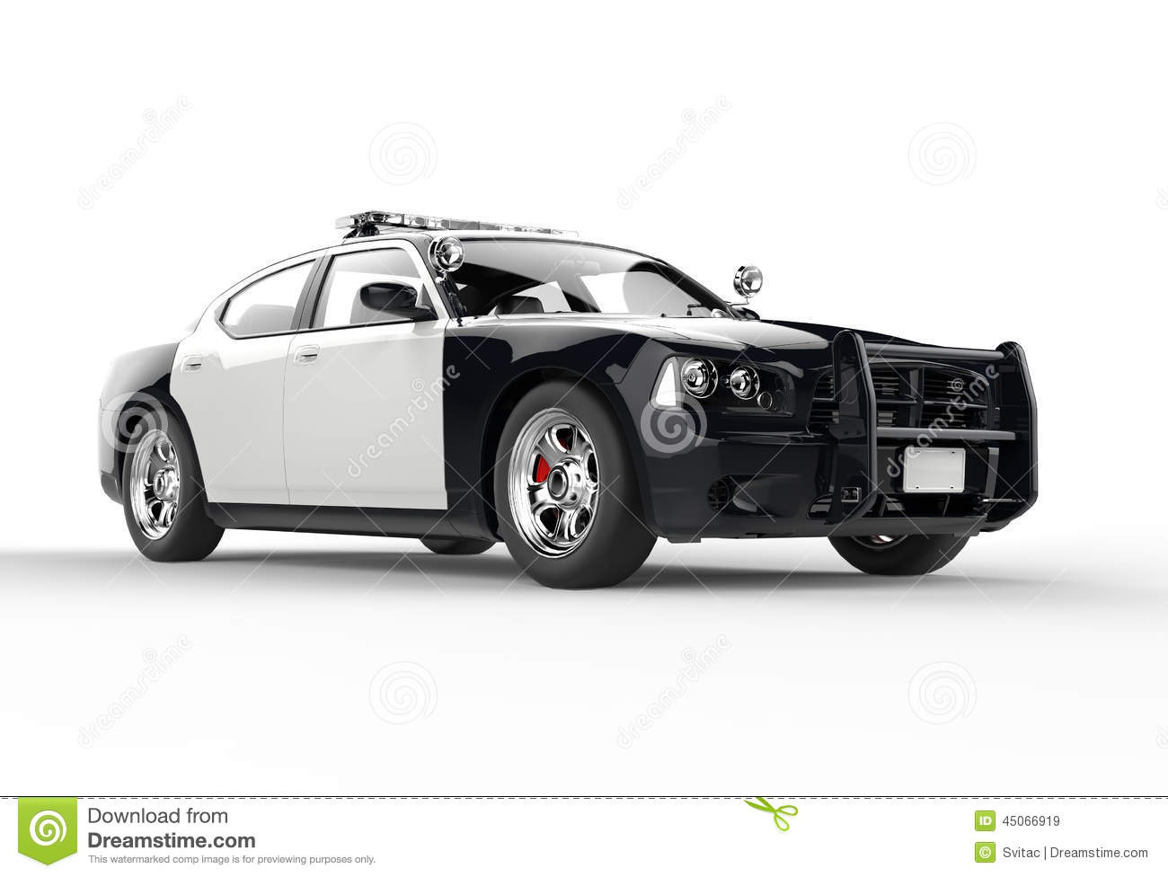 Police car without decals far front shot