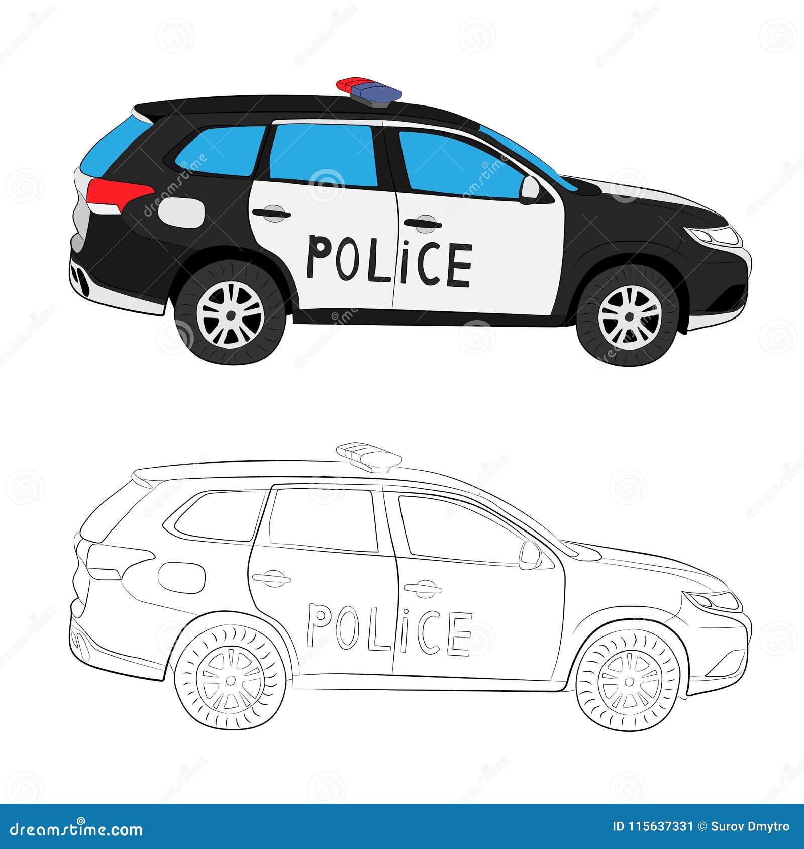 Police Car Drawing Illustration Stock Illustration Illustration Of