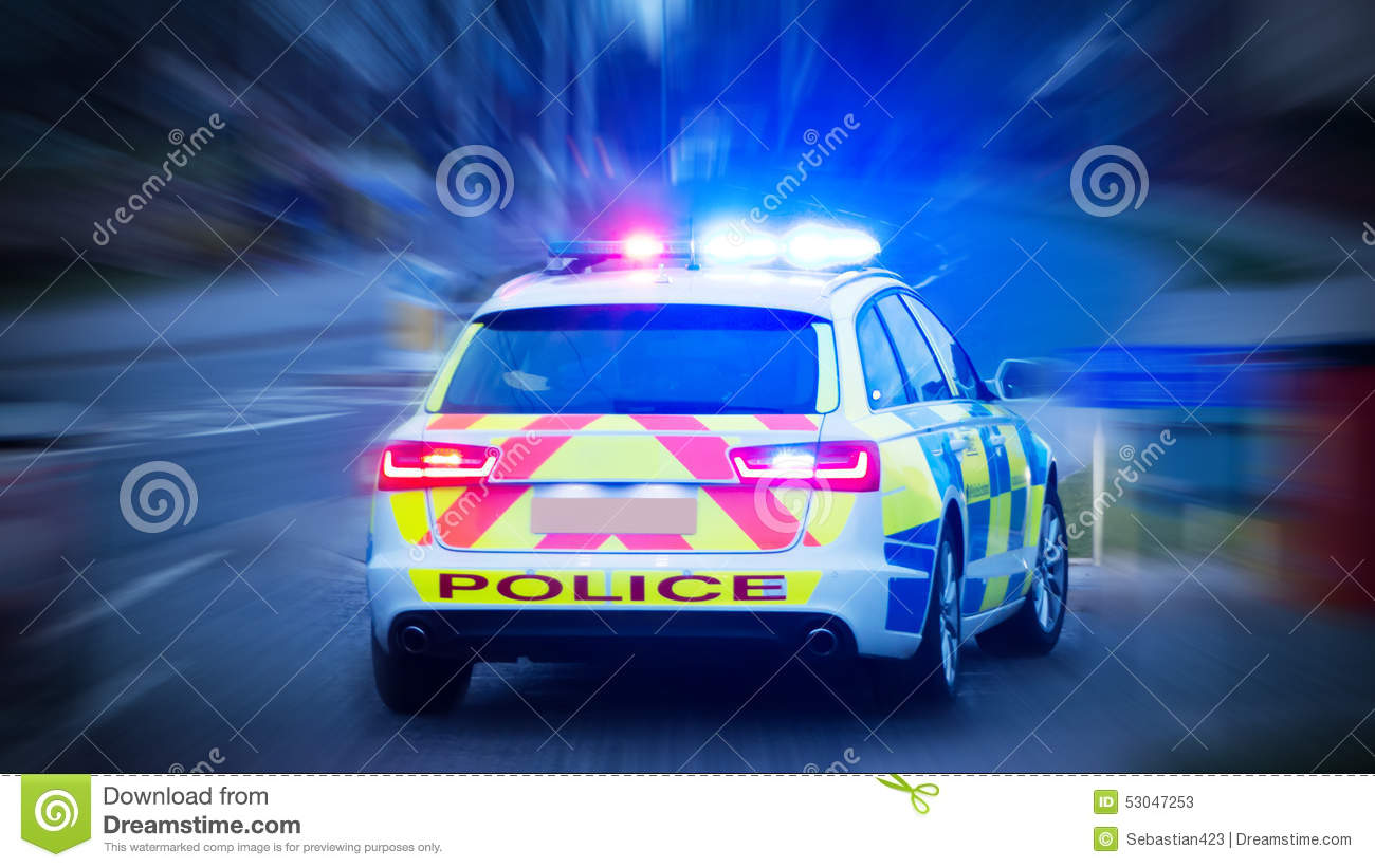 Police Car With Emergency Lights On Stock Photo Image