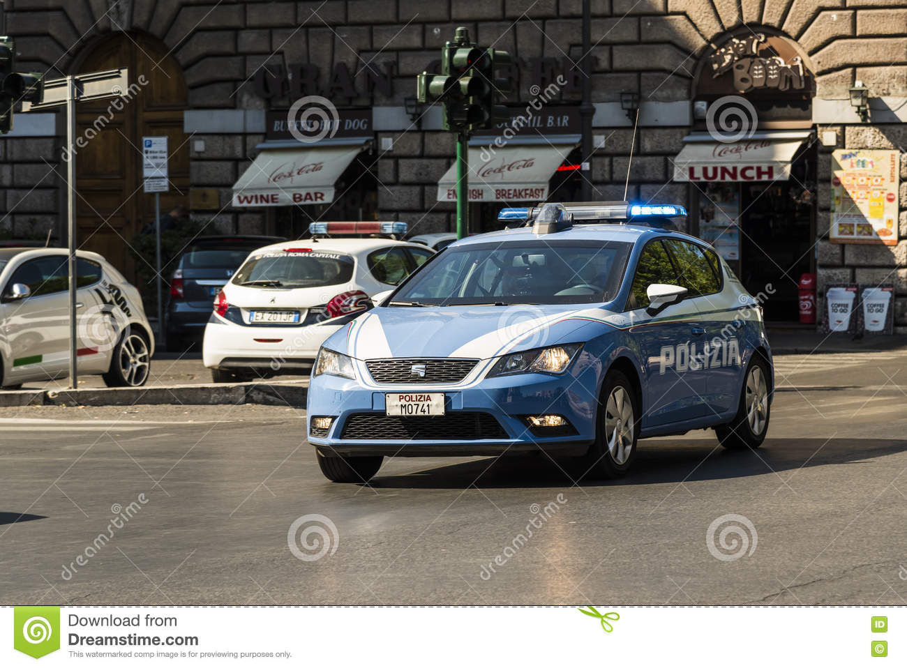 Police car at emergency rome editorial photography image of italian police car with flashing lights at emergency in rome italy aloadofball Images