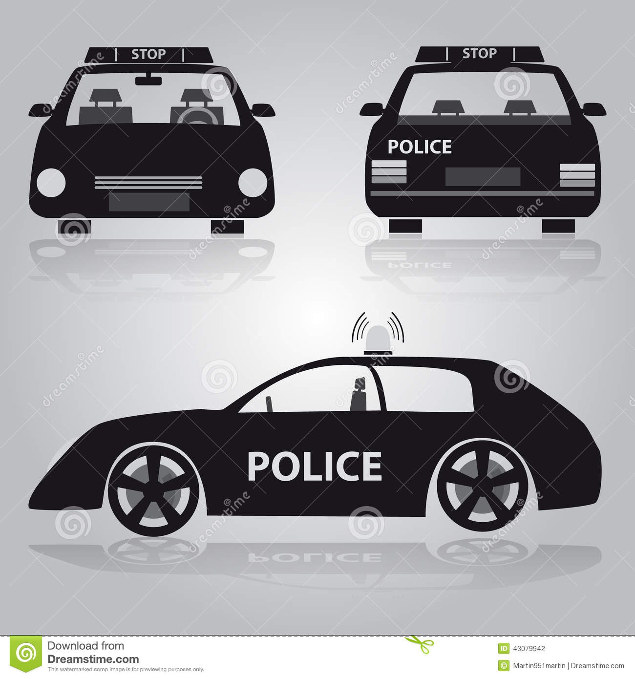 police car from front back and side view stock vector image 43079942. Black Bedroom Furniture Sets. Home Design Ideas