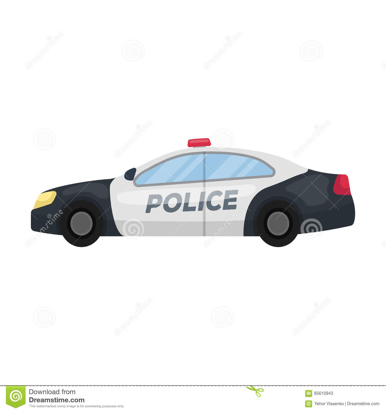 police car icon in cartoon style isolated on white