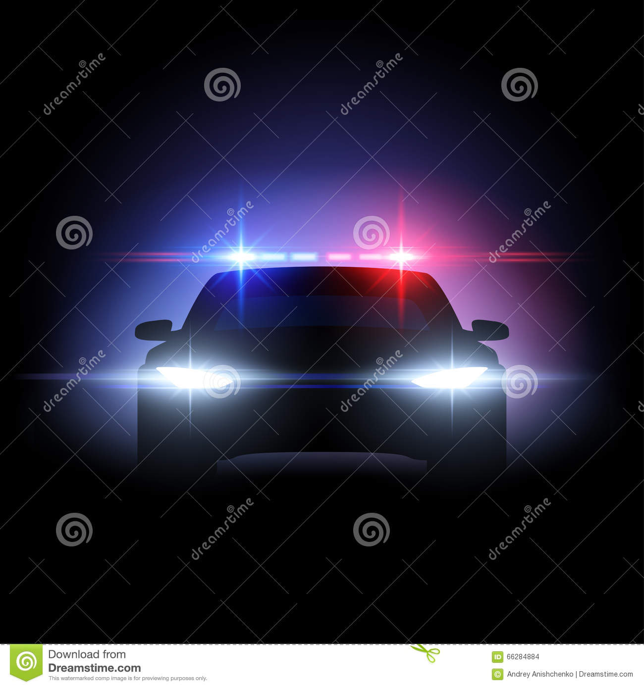 police car lights effect vector illustration 66284884. Black Bedroom Furniture Sets. Home Design Ideas