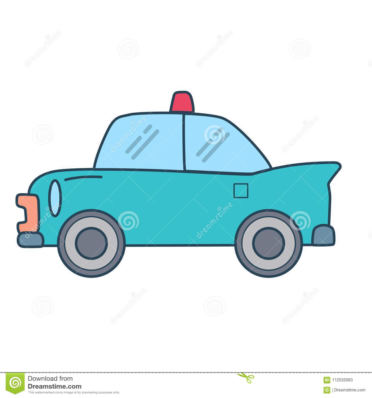 Police Car Website >> Linear Police Car On White Background Stock Illustration