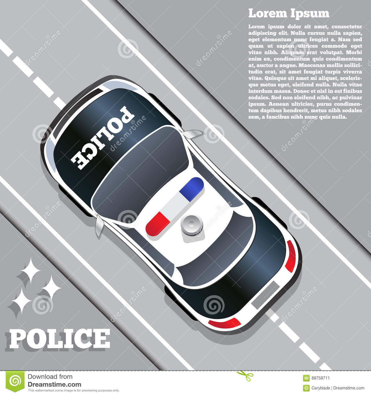 a police car on the road view from above stock vector