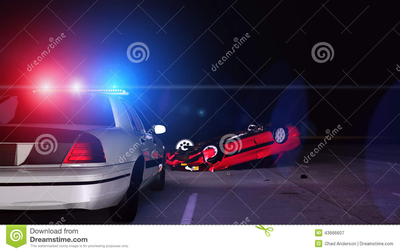 Police Car At Scene Of Accident 3D Animation Stock Video Video