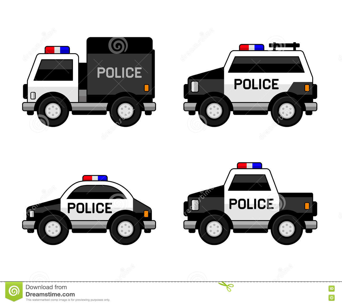 Royalty Free Vector Download Police Car Set Classic Black And White Colors Stock