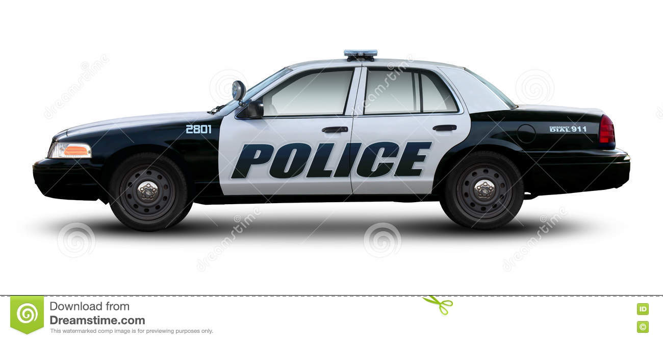 police car side view stock photo image of light