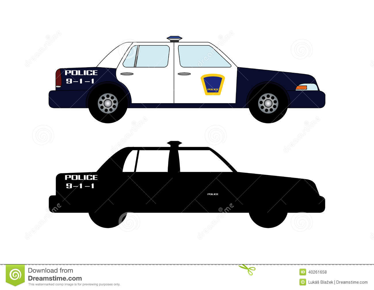 Police car 2 stock illustration  Illustration of league